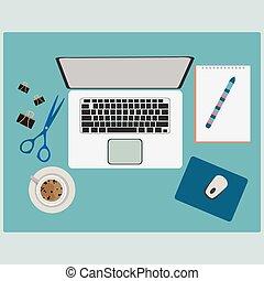 εφόδια , ανοησίες , γραφείο , εργαζόμενος , τραπέζι