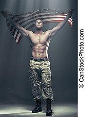 εύμορφος , άντρεs , με , σημαία , μέσα , καπνός