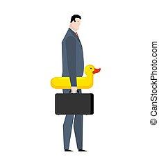 ζάλη , duck., διακοπές , διαχειριστής , επιχειρηματίας , δακτυλίδι