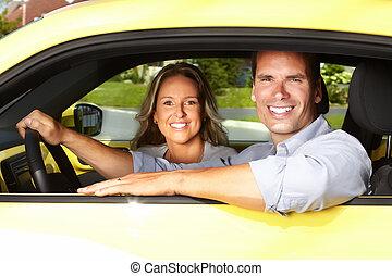 ζευγάρι , άμαξα αυτοκίνητο.