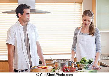 ζευγάρι , έχει , κουζίνα , αγχώδης , κατάσταση