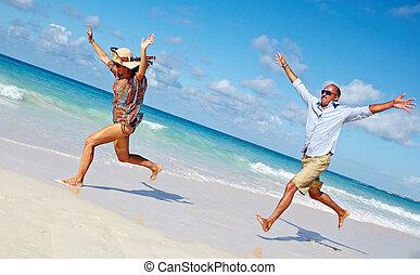 ζευγάρι , ακρογιαλιά. , τρέξιμο , ευτυχισμένος