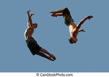ζευγάρι , από , ιπτάμενος , αγόρι