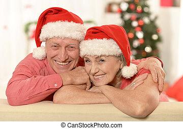 ζευγάρι , γριά , xριστούγεννα , διασκεδαστικό