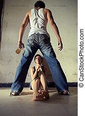 ζευγάρι , γυναίκα , θυμωμένος , μεθυσμένος , εκδιώκω με εκφοβισμό , απόγονοι , άντραs