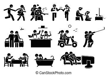 ζευγάρι , ευτυχισμένος , activities., εραστήs