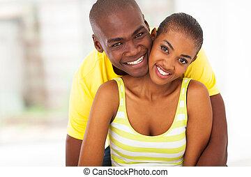 ζευγάρι , νέος , αμερικανός , αφρικανός , πορτραίτο , ευτυχισμένος