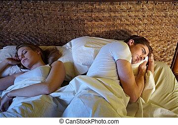 ζευγάρι , νέος , κρεβάτι , κοιμάται