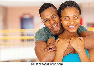 ζευγάρι , πάνω , αμερικανός , κολλέγιο , κλείνω , afro