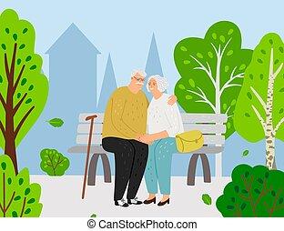 ζευγάρι , πάρκο , ηλικιωμένος , πόλη