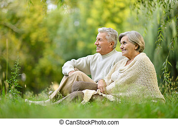 ζευγάρι , πάρκο , ηλικιωμένος