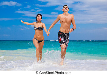 ζευγάρι , παραλία , τρέξιμο , ευτυχισμένος