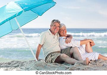 ζευγάρι , παραλία , ώριμος