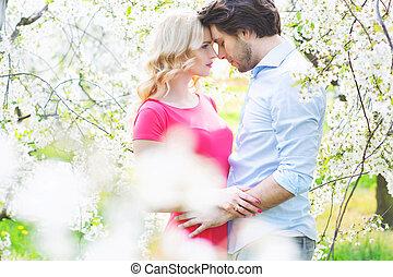 ζευγάρι , πορτραίτο , ρομαντικός , νέος
