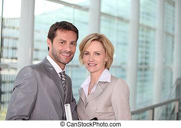 ζευγάρι , χαμογελαστά , επιχείρηση