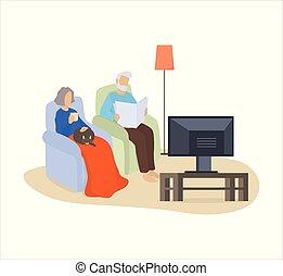 ζευγάρι , armchair., γάτα , αγρυπνία , γριά , κάθονται