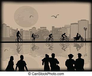 ζευγάρι , cityscape , bikers , αντανάκλαση , περίγραμμα , όμορφος