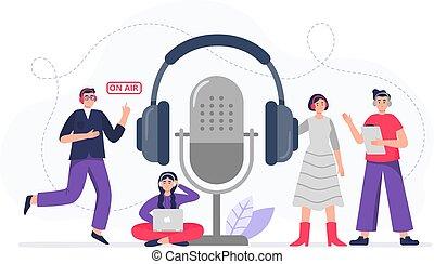 ζεύγος ζώων , αδιακανόνιστοσ. , αποκτώ , ακουστικά , podcasters, γίνομαι , διαμέρισμα , οικοδεσπότες , δροσερός , illustration., έτοιμος , μικροβιοφορέας , αναγραφή , podcasts., podcasting., ραδιόφωνο