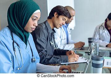 ζεύγος ζώων , εργαζόμενος , νοσοκομείο , τραπέζι , μαζί , ιατρικός