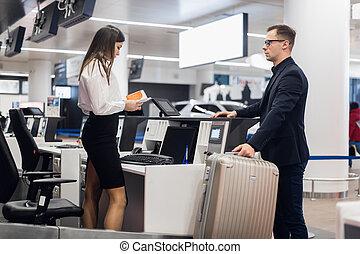 ζυγίζων , επιβάτης , αεροδρόμιο , ελέγχω , αποσκευέs