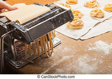 ζυμαρικά , φρέσκος , μηχανή , τραπέζι , κουζίνα