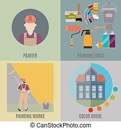 ζωγραφική , δουλειά , ζωγράφος , εργαλεία