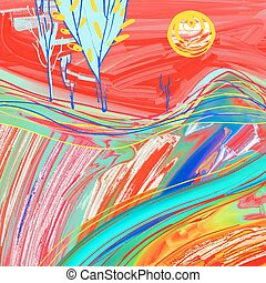 ζωγραφική , ηλιοβασίλεμα , τοπίο , κόκκινο , ψηφιακός