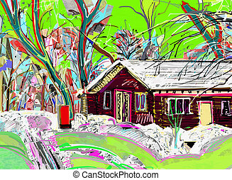 ζωγραφική , χειμερινός γραφική εξοχική έκταση , ψηφιακός