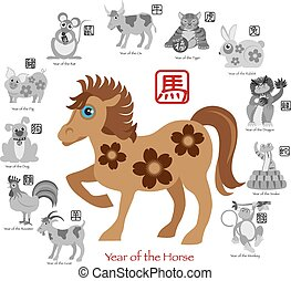 ζωδιακός , δώδεκα , άλογο , κινέζα , χρώμα , εικόνα , έτος , καινούργιος
