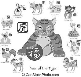 ζωδιακός , δώδεκα , κινέζα , εικόνα , tiger, έτος , καινούργιος