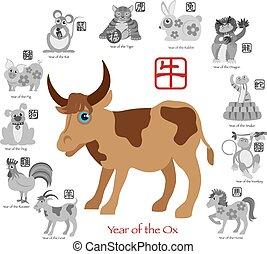 ζωδιακός , δώδεκα , κινέζα , χρώμα , βόδι , εικόνα , έτος , καινούργιος