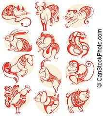 ζωδιακόs κύκλος , κινέζα , papercut, απεικόνιση