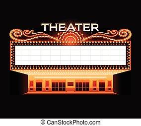 ζωηρά , θέατρο , κινηματογράφοs , φωτεινή επιγραφή , λαμπερός , retro