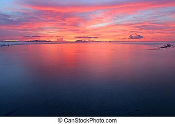 ζωηρός , φόντο , πανοραματικός , τροπικός , θαλασσογραφία , ηλιοβασίλεμα