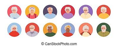 ζωντανή περιγραφή προσώπου , γελοιογραφία , avatars, μικροβιοφορέας , άνθρωποι , θέτω , γριά