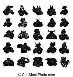 ζώο , τατουάζ , μεγάλος , θέτω , συλλογή