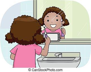 ηλεκτρική οδοντόβουρτσα , παιδί , τηλέφωνο , κορίτσι , καθρέφτηs