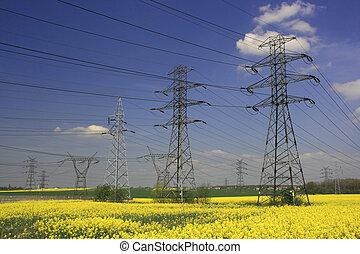 ηλεκτρικός , πυλώνας , και , farmland