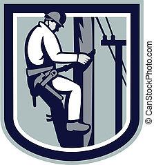 ηλεκτρολόγος , επιδιορθωτής τηλεφωνικών συρμάτων , δύναμη , τηλέφωνο , retro , repairman