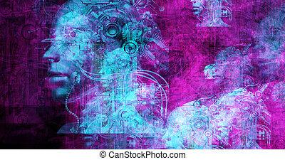 ηλεκτρονικός εγκέφαλος γεννώ άγαλμα , από , surreal , cyborgs