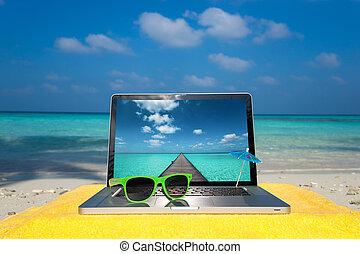 ηλεκτρονικός υπολογιστής , αρμοδιότητα διανύω , - , σημειωματάριο , φόντο , παραλία