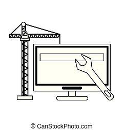 ηλεκτρονικός υπολογιστής , δομή , μαύρο , βίαια στροφή , γερανός , άσπρο