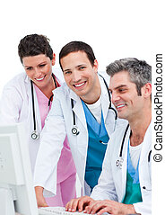 ηλεκτρονικός υπολογιστής , ζεύγος ζώων , εργαζόμενος , χαμογελαστά , ιατρικός