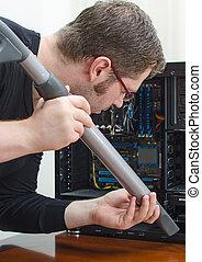 ηλεκτρονικός υπολογιστής , καθάρισμα , ηλεκτρική σκούπα , άντραs