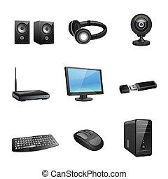 ηλεκτρονικός υπολογιστής , μαύρο , εξαρτήματα , απεικόνιση