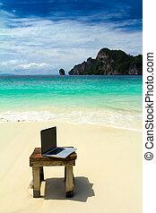 ηλεκτρονικός υπολογιστής , παραλία , σημειωματάριο