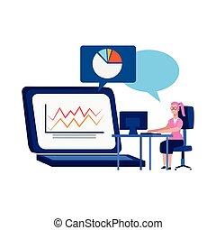 ηλεκτρονικός υπολογιστής , σχεδιάζω , γραφικός , γυναίκα , γραφείο , ηλεκτρονικός υπολογιστής , laptop , εργαζόμενος