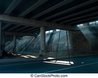 ηλιακό φως , από , κάτω από , ο , γέφυρα