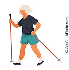 ηλικιωμένος , ακροδέκτης , σωματικός , μακροκέφαλος βορειοευρωπαίος , γυναίκα βαδίζω , δραστηριότητες