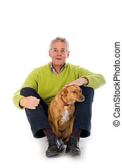 ηλικιωμένος ανήρ , με , σκύλοs